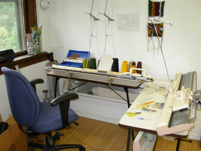 Knitting machines in Adrienne Sloane's studio