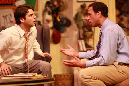 Thomas Azar (left) as Alan and Jason Farr as Frankie in a scene from Centre Stage Theatre production of Identity Crisis. (Photo: Wofford Jones).
