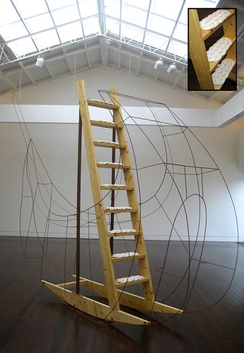 Christy Georg, CIRCUMNAVIGATING (2007), wood, steel, and cotton, 16x3x11 ft