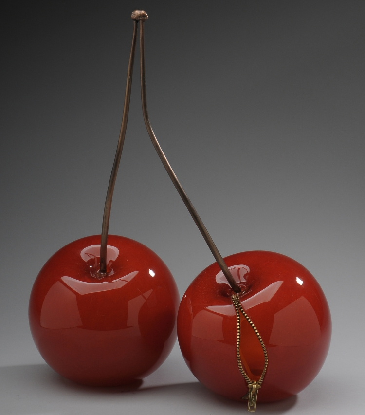 Stephanie Chubbuck, TWO (2013), blown and coldworked ruby glass, forged copper, mixed media, 18x14x7 in