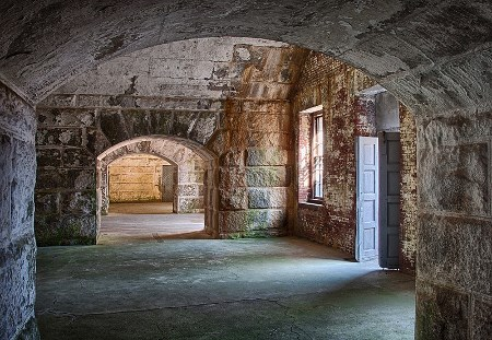 Fort Warren on Georges Island, location of site-responsive installations for COVE, part of the Isles Arts Initiative