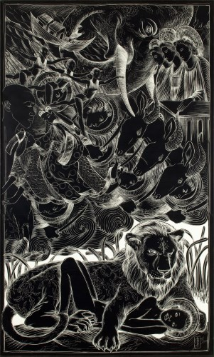 Ellen LeBow, REVELATION DELUGE (2010), black ink on white clayboard, 62x38x2 in