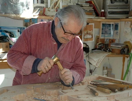 Dimitrios Klitsas carving at his bench (2014)