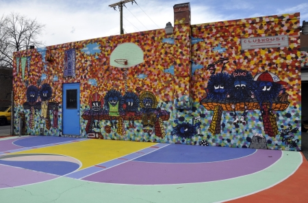 How do you approach the business of art artsake for Basketball court mural
