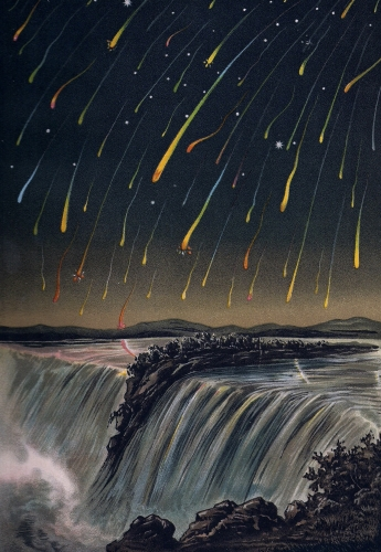 Leonid meteor shower over Niagara Falls, from BILDER-ATLAS DER STERNWELT (translation: Image Atlas of the Star World) by Edmund Weiss (Stuttgart, 1892). Courtesy of the U.S. Naval Observatory Library.