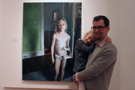 Matt Brackett and his daughter, in front of the painting MOONSTONE (2015), oil on linen on aluminum panel, 46x34.5 in