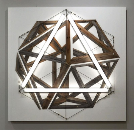 Michael Zelehoski, ANIMISM (2016), assemblage with repurposed wood and florescent bulbs, 65x67 in