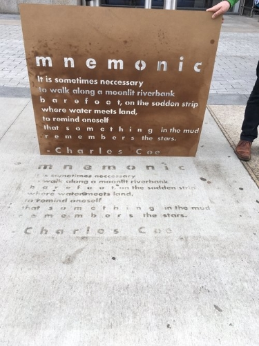 "Charles Coe's poem ""Mnemonic"" installed as part of Mass Poetry's Raining Poetry project"