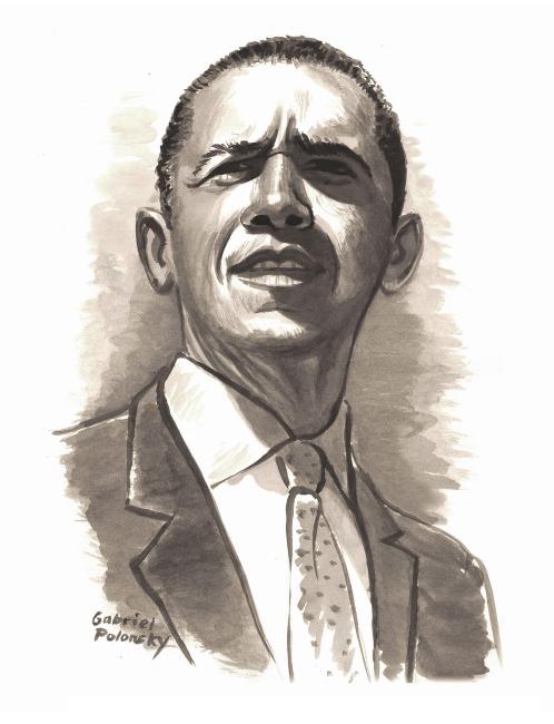 Illustration of Barack Obama by Gabriel Polonsky
