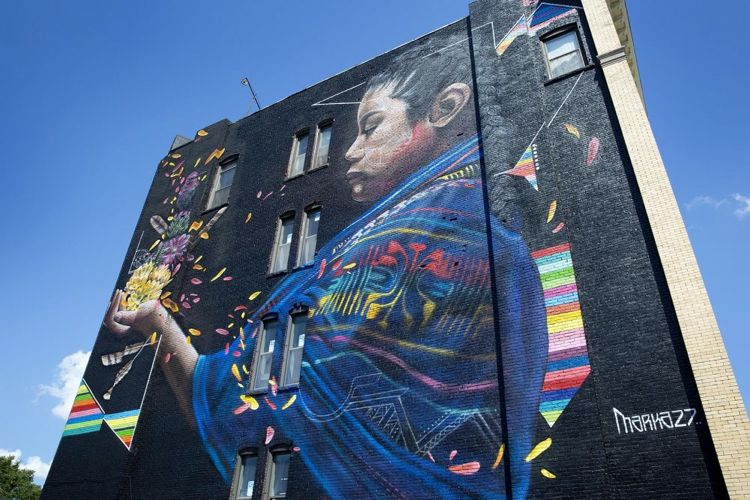 Mural by Marka27 from the Beyond Walls Project, photo by Robin Lubbock/WBUR