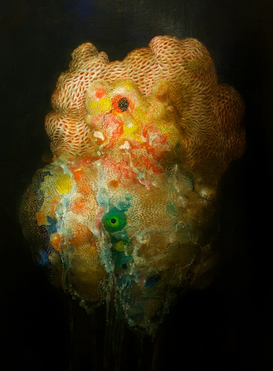 Nicole Duennebier, TUNICATE AND GOLDEN SAC (2014), acrylic on panel, 48x34 in