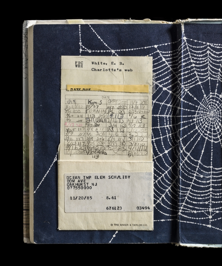Photograph of an old library edition of CHARLOTTE'S WEB, by Kerry Mansfield from her EXPIRED project.