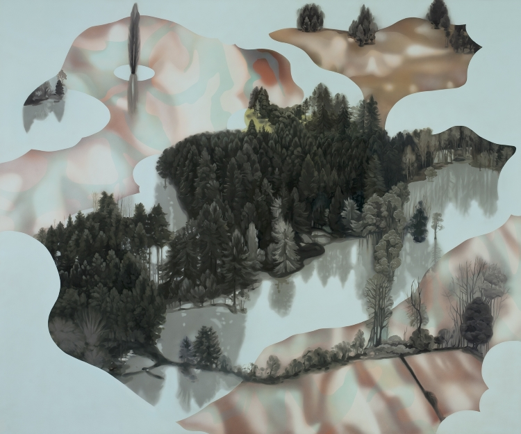 Cristi Rinklin, DISPLACED (2014) oil and acrylic on aluminum, 60x72 in