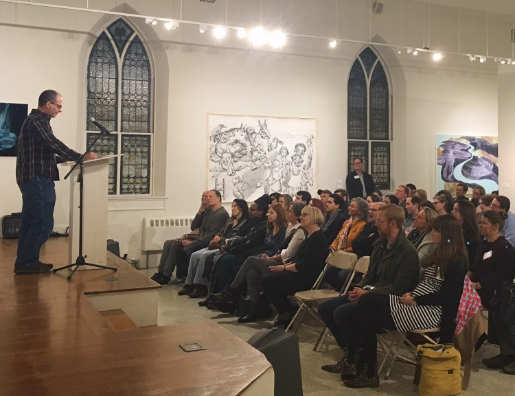 Michael Lowenthal reads at a Mass Cultural Council literary awardees' reading at New Art Center in 2016, photo by Casey Curry.