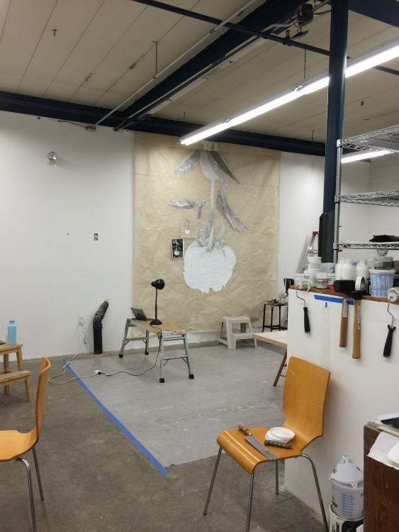 Work-in-progress in Meg Alexander's studio