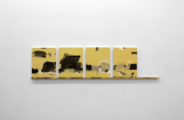 Jesus Matheus (Painting Fellow '18), BUENOS AIRES 37 (NOTEBOOK SERIES) (2017), acrylic, oil/canvas, painted wood, 16x64x2 in