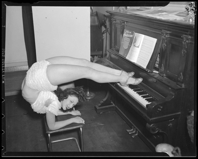 Unknown contortionist, photo by Leslie Jones, from the Boston Public Library Flickr page.