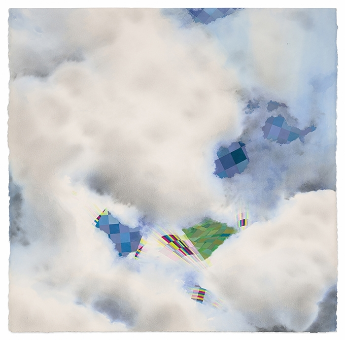 Nona Hershey, SENSORS 2 (2018), watercolor, graphite powder, gouache, 40x40 in