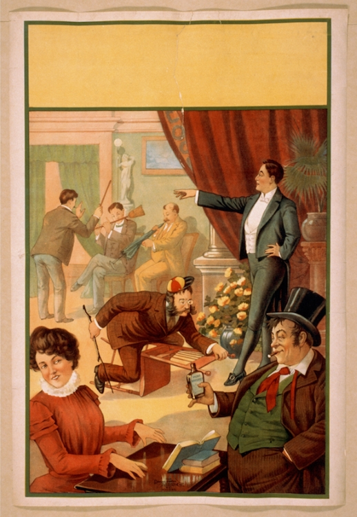 Poster of a hypnotist at work, from The Donaldson Lithographing Co., circa 1900