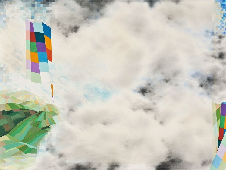 Nona Hershey, SIGNALS 2 (2015), watercolor, gouache, 27x35 in