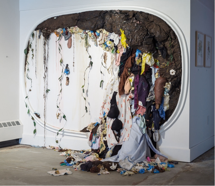 Sarah Meyers Brent, BEAUTIFUL MESS III (2018), mixed media, fabric, dead plants, 108w X 85h X 65d in, now exhibiting at Kelley Stelling Contemporary. The gallery has a call for entries from New England artists this month.