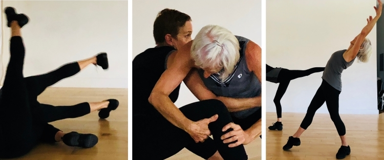 Rehearsing 30LOVE, a new dance trio featuring Dawn Lane, Jane Goodrich, and Leslie Nelson, choreographed by Dawn Lane.