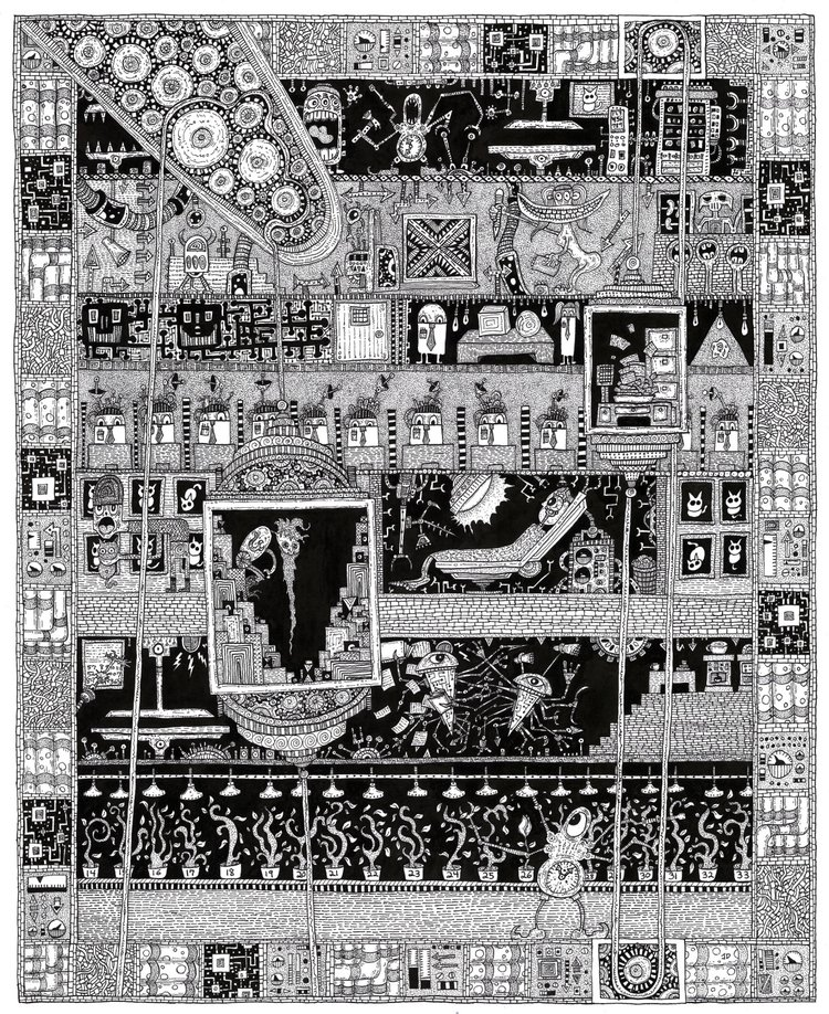 James Dye, THE COMPLEX, dip pen and India ink