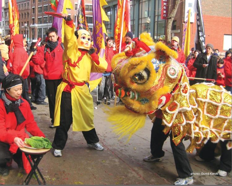 Gund Kwok performs The Lion Dance in Boston's Chinatown, photo courtesy of Gund Kwok.