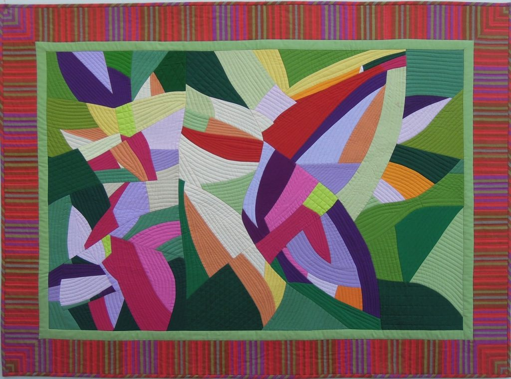 Photograph of Fragmented Garden, a quilt by Lee Sproull.