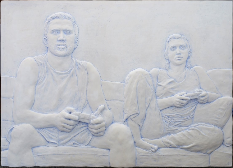 Evan Morse, MATT AND GABRIELA PLAY BATTLEBORN (2017), Patinated Plaster, 25x34x2 in.