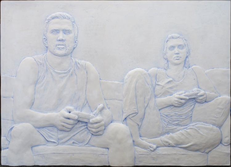 Evan Morse, MATT AND GABRIELA PLAY BATTLEBORN (2017), Patinated Plaster, 25x34x2 in.