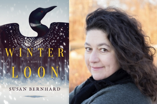 Cover art for WINTER LOON (Little A Books 2018); Susan Bernhard, photo by Miles Bernhard.