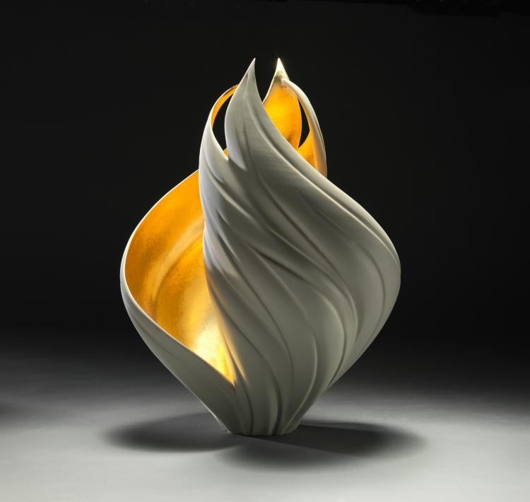 Jennifer McCurdy (Crafts Fellow '19), GILDED VORTEX VESSEL (2017), Porcelain, 24 Carat Gold Leaf, 13x10x9 in.