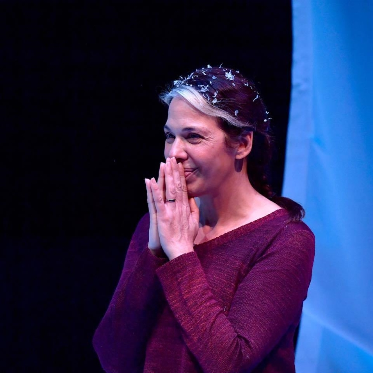 Melinda Lopez (Dramatic Writing Fellow '19) performs her play MALA at the Calderwood Pavilion (photo courtesy Huntington Theatre Company).